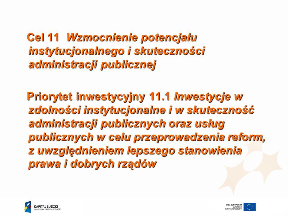 Cel 11 Wzmocnienie potencjału instytucjonalnego i skuteczności administracji publicznej Priorytet inwestycyjny 11.1 Inwestycje w zdolności instytucjon
