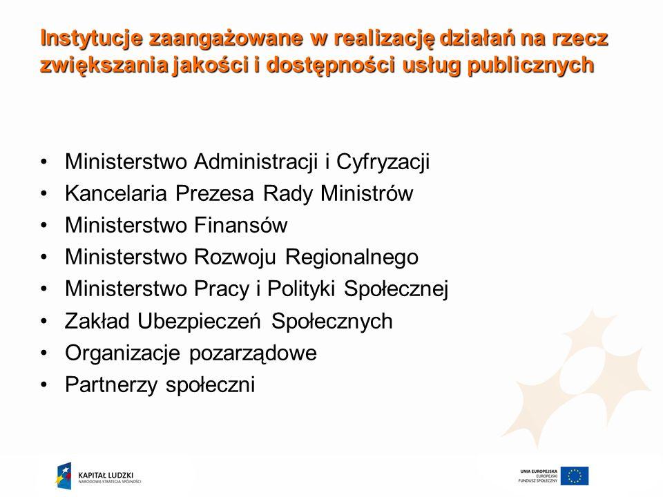 Instytucje zaangażowane w realizację działań na rzecz zwiększania jakości i dostępności usług publicznych Ministerstwo Administracji i Cyfryzacji Kanc
