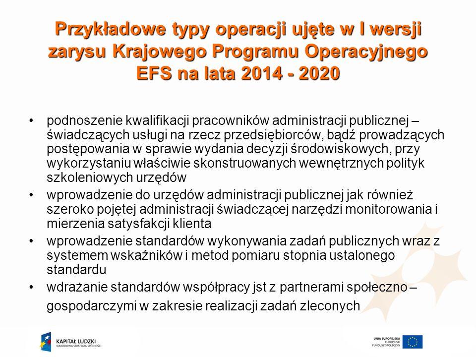 Przykładowe typy operacji ujęte w I wersji zarysu Krajowego Programu Operacyjnego EFS na lata 2014 - 2020 podnoszenie kwalifikacji pracowników adminis