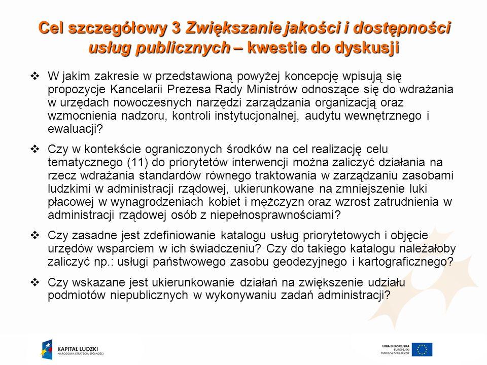Cele interwencji EFS na poziomie krajowym CEL OGÓLNY - Wzmocnienie państwa w tworzeniu oraz realizacji prawa oraz polityk publicznych CELE SZCZEGÓŁOWE: 1.Poprawa procesu stanowienia i stosowania prawa, jakości regulacji oraz warunków prowadzenia działalności gospodarczej 2.Poprawa skuteczności oraz ułatwienie dostępu do wymiaru sprawiedliwości, w szczególności dla przedsiębiorstw 3.Zwiększanie jakości i dostępności usług publicznych 4.Poprawa zarządzania strategicznego i finansowego na wszystkich szczeblach zarządzania państwem
