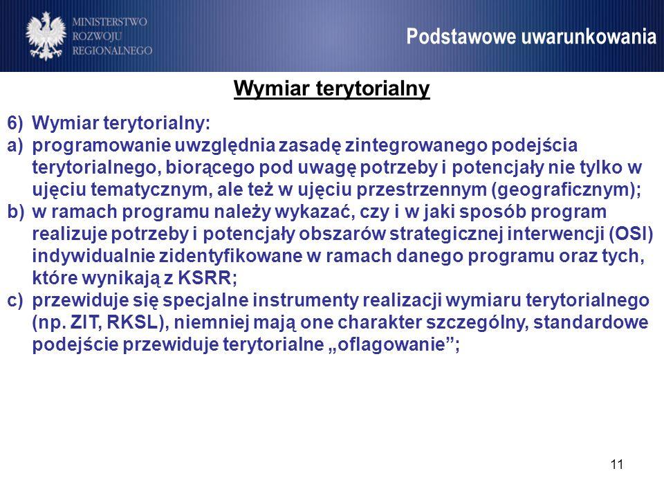 11 Umowa Partnerstwa Podstawowe uwarunkowania Wymiar terytorialny 6)Wymiar terytorialny: a)programowanie uwzględnia zasadę zintegrowanego podejścia te