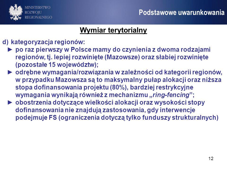 12 Umowa Partnerstwa Podstawowe uwarunkowania Wymiar terytorialny d)kategoryzacja regionów: po raz pierwszy w Polsce mamy do czynienia z dwoma rodzaja
