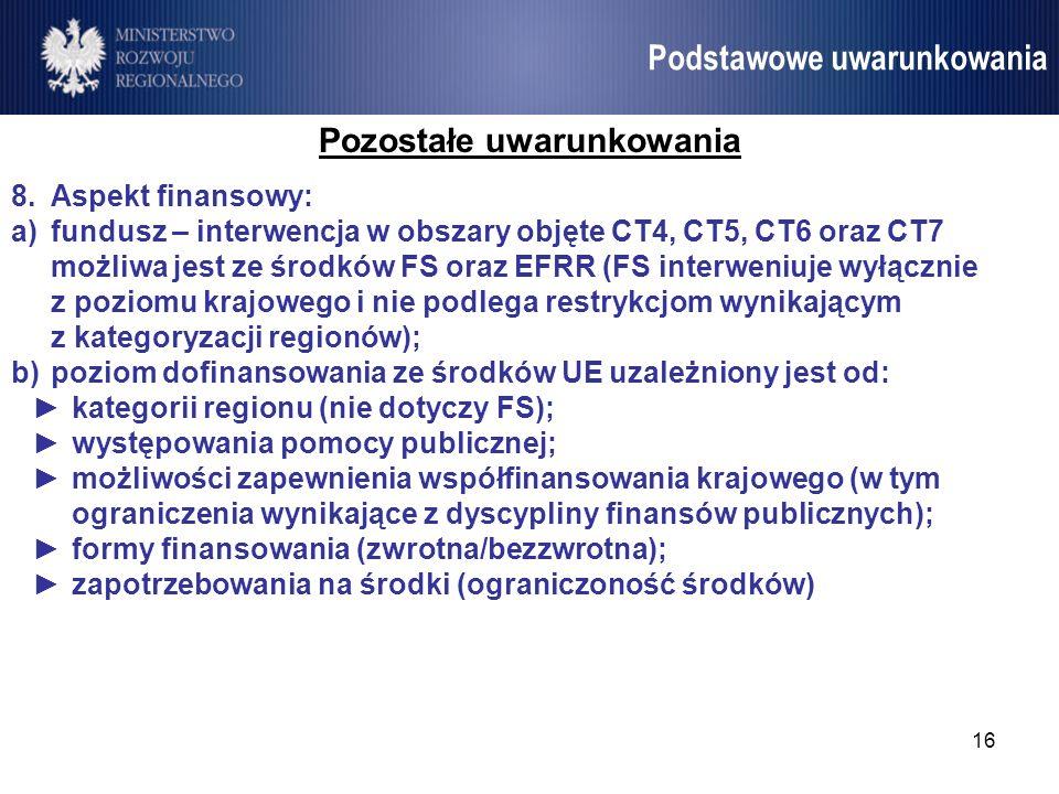 16 Umowa Partnerstwa Podstawowe uwarunkowania Pozostałe uwarunkowania 8.Aspekt finansowy: a)fundusz – interwencja w obszary objęte CT4, CT5, CT6 oraz
