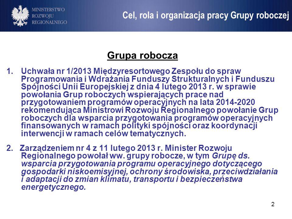 2 Umowa Partnerstwa Grupa robocza 1.Uchwała nr 1/2013 Międzyresortowego Zespołu do spraw Programowania i Wdrażania Funduszy Strukturalnych i Funduszu