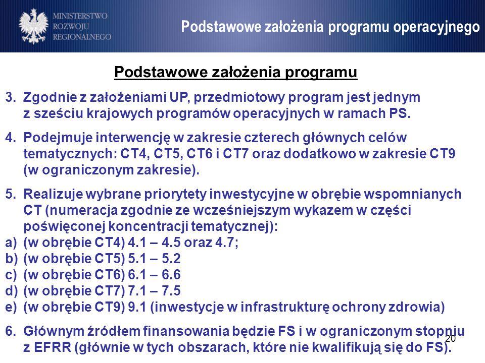 21 Umowa Partnerstwa Podstawowe założenia programu 7.Architektura programu (układ osi priorytetowych): a)ze względu na potrzebę elastyczności w zarządzaniu alokacją, dążeniem będzie ograniczona liczba osi priorytetowych; b)przewiduje się, że osie priorytetowe będą monofunduszowe oraz rozważa się łączenie w jedną oś różnych CT (dotyczy głównie sektora transportu oraz środowiska); c)układ osi priorytetowych zostanie określony na późniejszym etapie, po rozstrzygnięciu co najmniej następujących kwestii: zakresu interwencji na Mazowszu (dotyczy EFRR); zakresu wykorzystania inżynierii finansowej (premia 10pp na poziomie stopy dofinansowania w ramach dedykowanej osi); systemu instytucjonalnego.