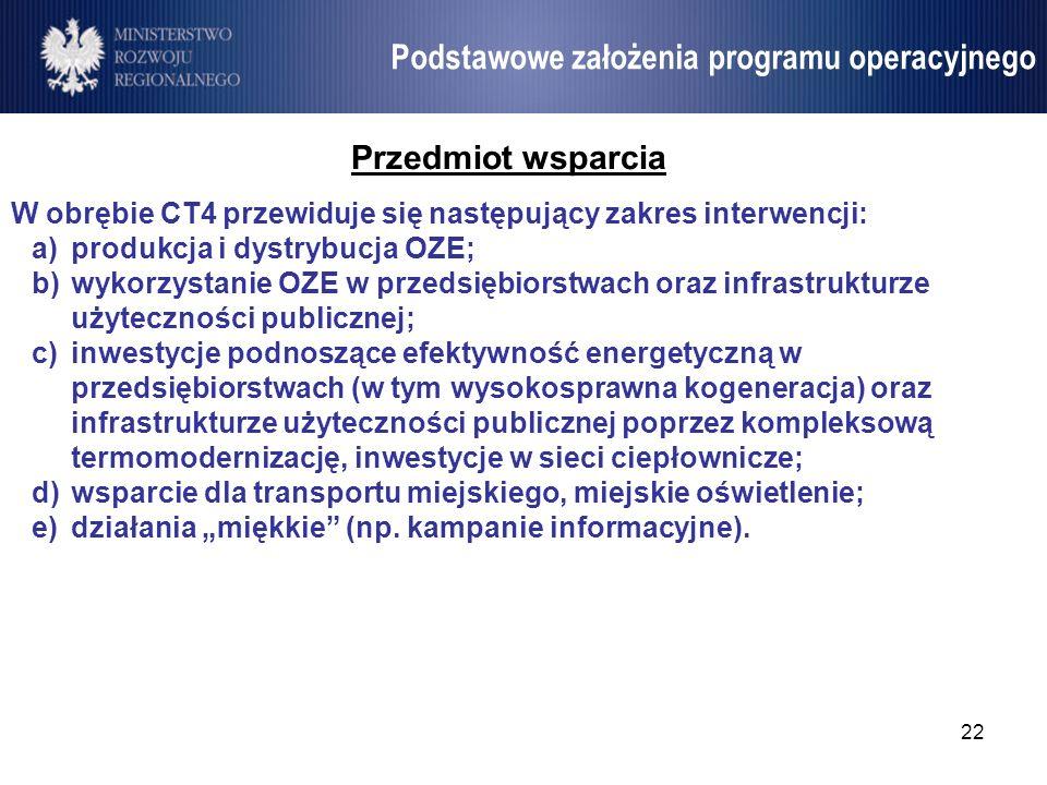 22 Umowa Partnerstwa Przedmiot wsparcia W obrębie CT4 przewiduje się następujący zakres interwencji: a)produkcja i dystrybucja OZE; b)wykorzystanie OZ