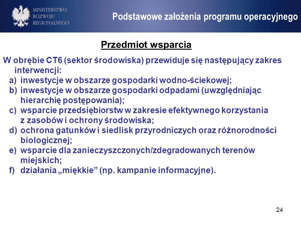 24 Umowa Partnerstwa Przedmiot wsparcia W obrębie CT6 (sektor środowiska) przewiduje się następujący zakres interwencji: a)inwestycje w obszarze gospo