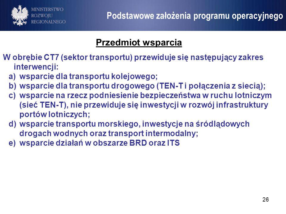26 Umowa Partnerstwa Przedmiot wsparcia W obrębie CT7 (sektor transportu) przewiduje się następujący zakres interwencji: a)wsparcie dla transportu kol