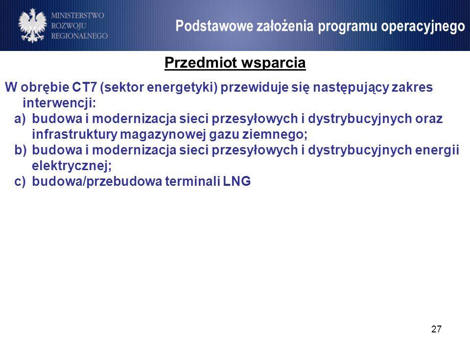 27 Umowa Partnerstwa Podstawowe założenia programu operacyjnego Przedmiot wsparcia W obrębie CT7 (sektor energetyki) przewiduje się następujący zakres