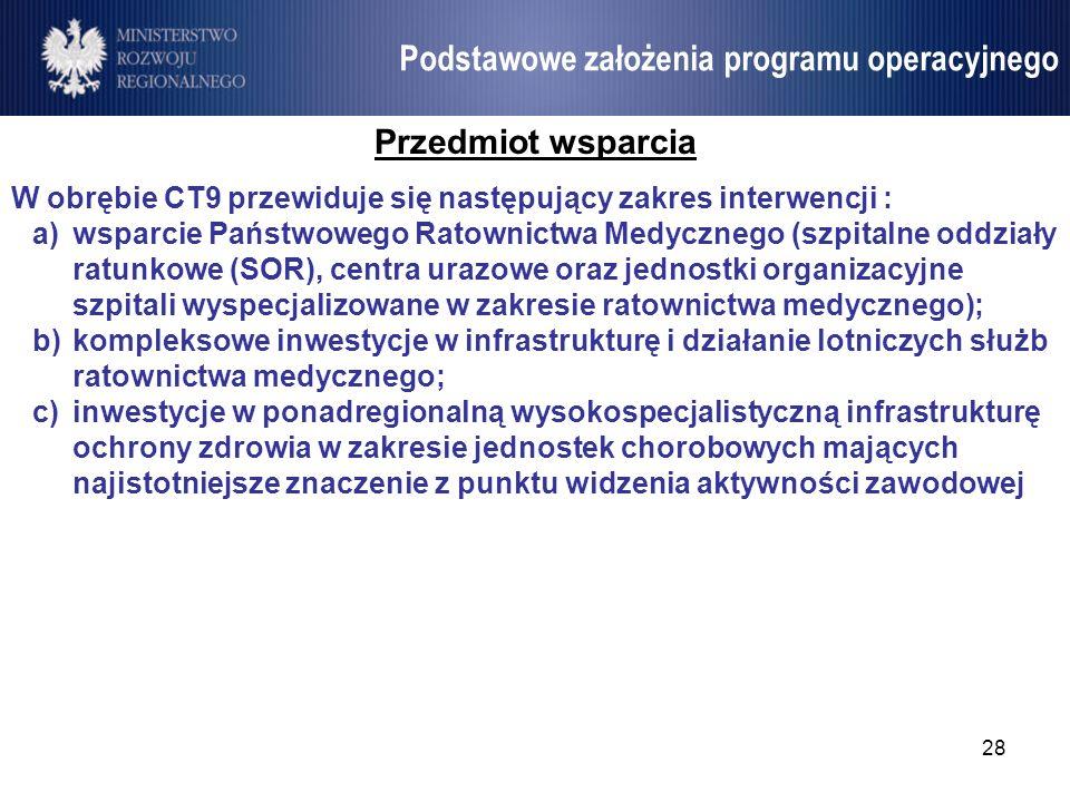 28 Umowa Partnerstwa Podstawowe założenia programu operacyjnego Przedmiot wsparcia W obrębie CT9 przewiduje się następujący zakres interwencji : a)wsp