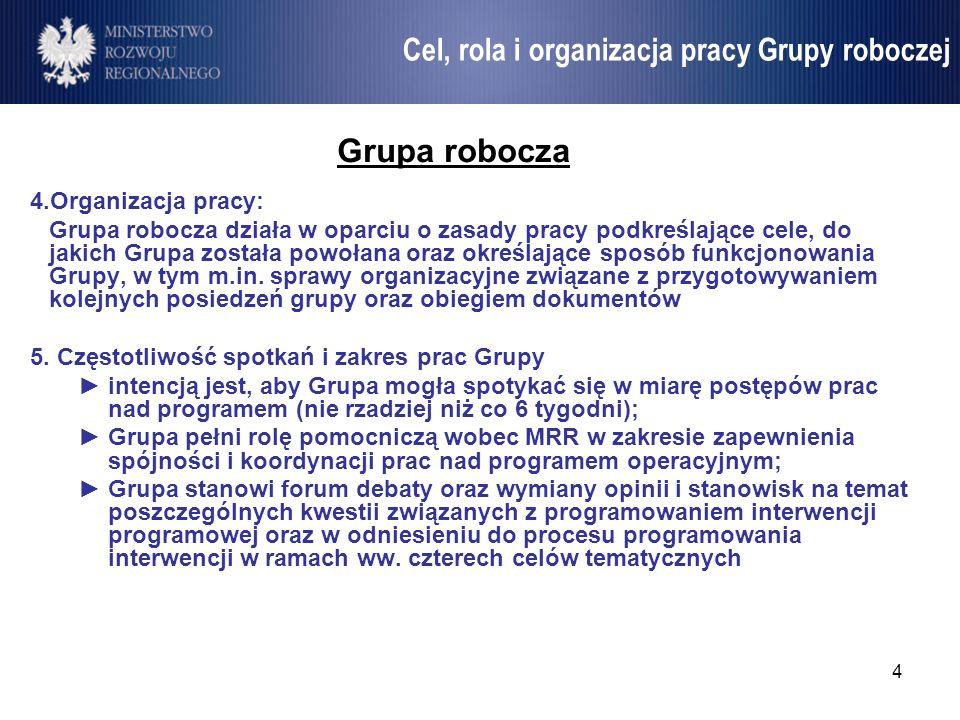 4 Umowa Partnerstwa Grupa robocza 4.Organizacja pracy: Grupa robocza działa w oparciu o zasady pracy podkreślające cele, do jakich Grupa została powoł