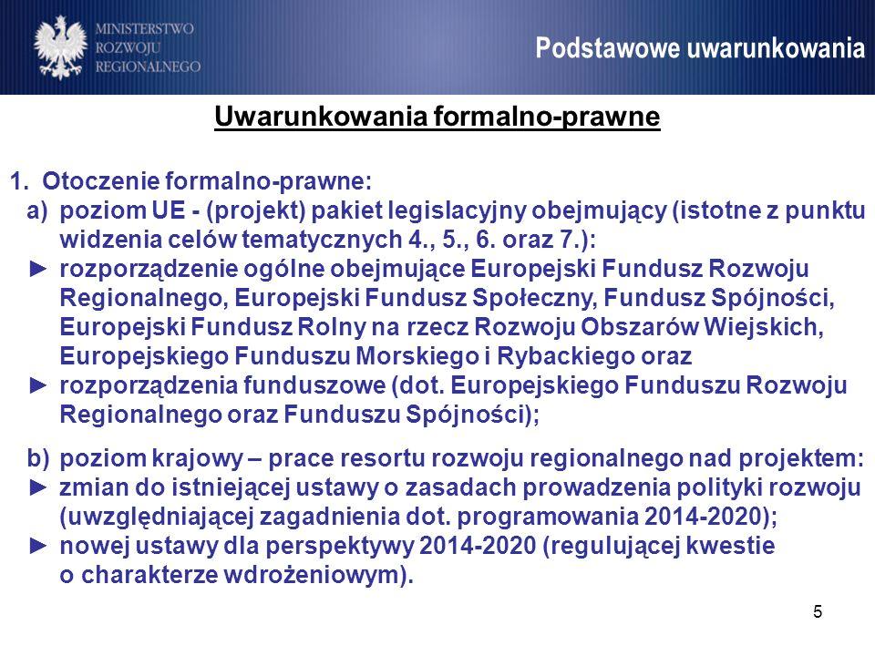 5 Umowa Partnerstwa Podstawowe uwarunkowania Uwarunkowania formalno-prawne 1.Otoczenie formalno-prawne: a)poziom UE - (projekt) pakiet legislacyjny ob