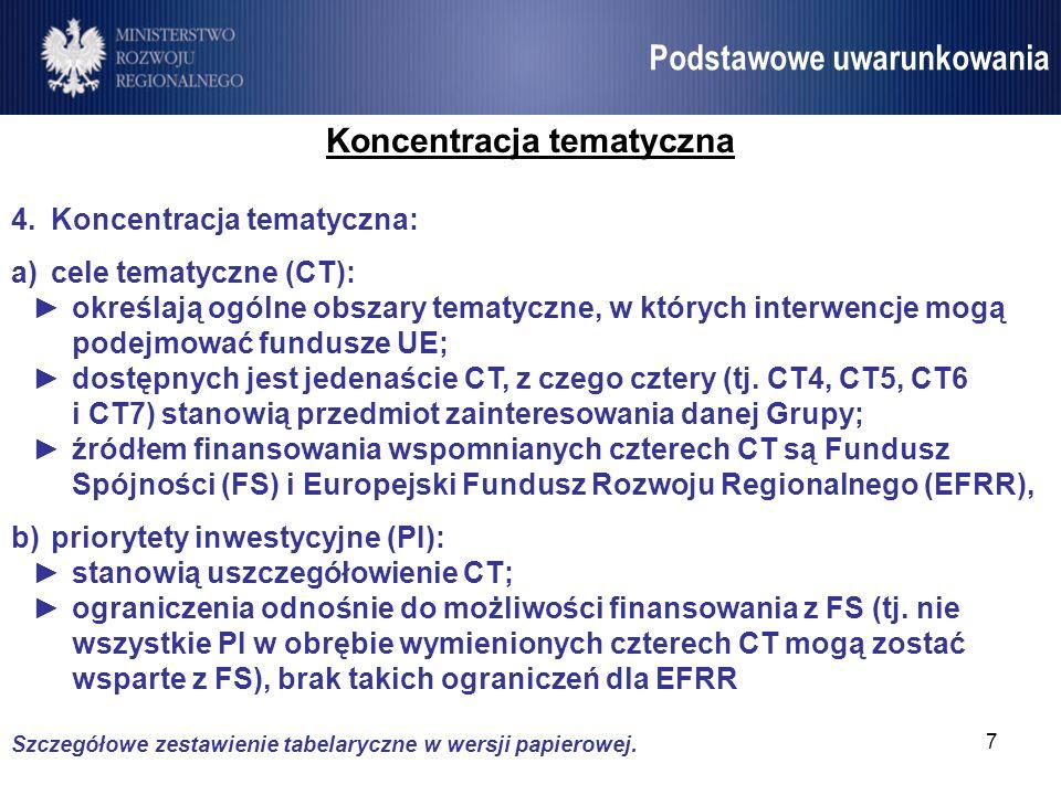 8 Umowa Partnerstwa Podstawowe uwarunkowania Koncentracja tematyczna c)mechanizm ring-fencing: ogranicza swobodę odnośnie do wyboru CT, na które planuje się przeznaczyć fundusze UE; mechanizm działa na poziomie państwa, nie pojedynczych programów operacyjnych; zobowiązuje do przeznaczenia określonego minimalnego procenta alokacji na realizację CT (wybór PI w obrębie CT stanowi kompetencję pastwa); wymagania są zróżnicowane ze względu na region (wyższe wymagania dla regionów lepiej rozwiniętych); założenia UP wskazują, że wymóg ten będzie realizowany wyłącznie ze środków EFRR (ew.