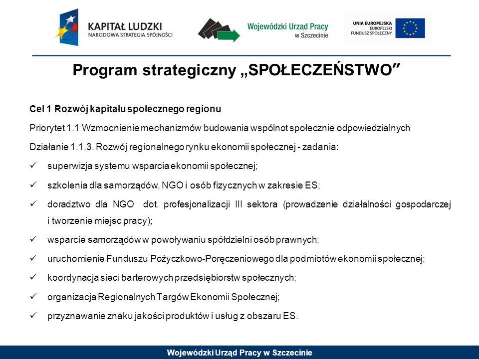 Wojewódzki Urząd Pracy w Szczecinie Program strategiczny SPOŁECZEŃSTWO Cel 1 Rozwój kapitału społecznego regionu Priorytet 1.1 Wzmocnienie mechanizmów budowania wspólnot społecznie odpowiedzialnych Działanie 1.1.3.