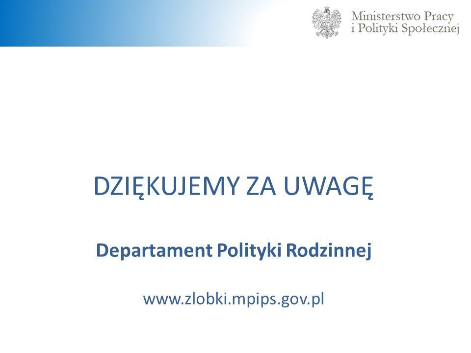 DZIĘKUJEMY ZA UWAGĘ Departament Polityki Rodzinnej www.zlobki.mpips.gov.pl