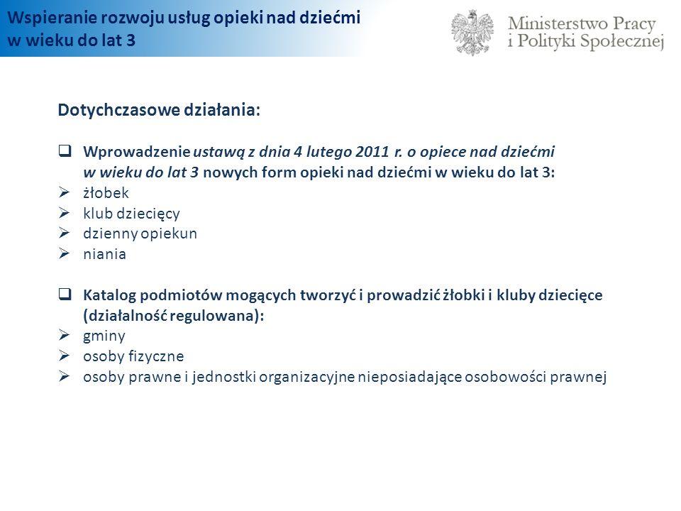 Dotychczasowe działania: Wprowadzenie ustawą z dnia 4 lutego 2011 r. o opiece nad dziećmi w wieku do lat 3 nowych form opieki nad dziećmi w wieku do l