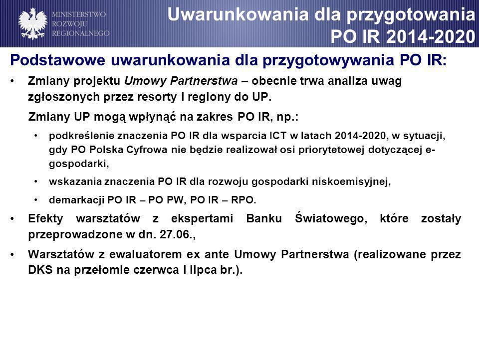 Podstawowe uwarunkowania dla przygotowywania PO IR: Zmiany projektu Umowy Partnerstwa – obecnie trwa analiza uwag zgłoszonych przez resorty i regiony do UP.