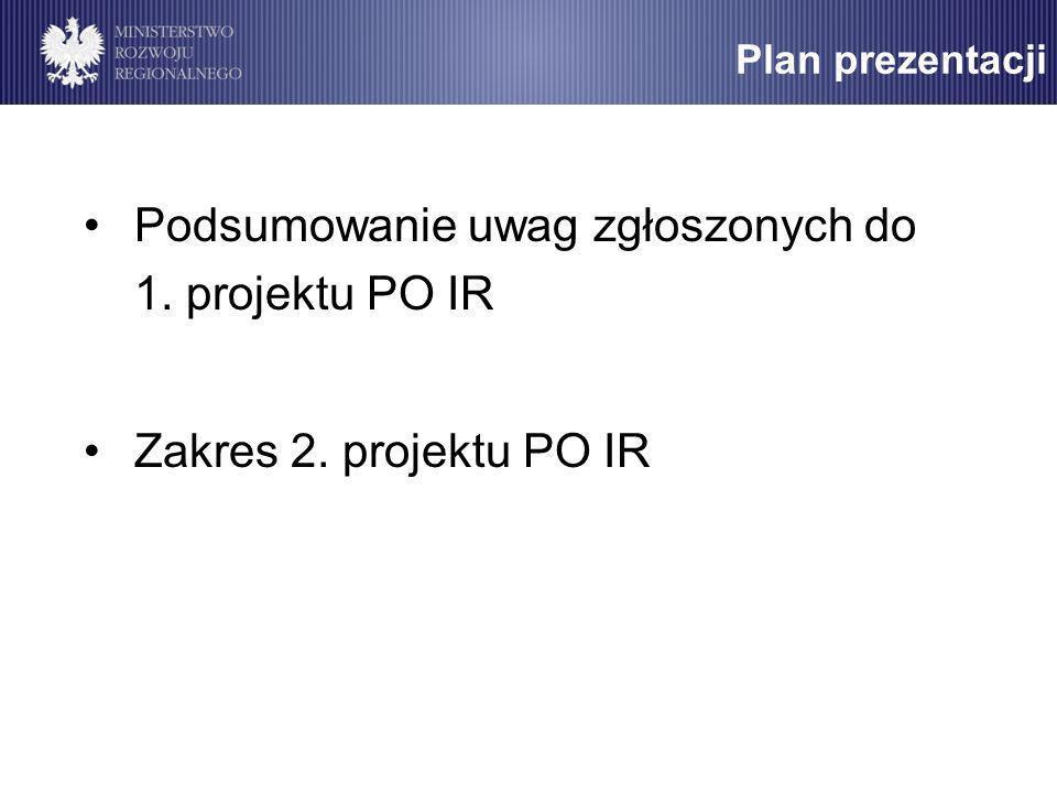Plan prezentacji Podsumowanie uwag zgłoszonych do 1. projektu PO IR Zakres 2. projektu PO IR