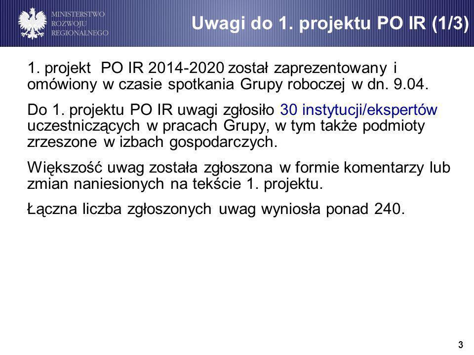 1. projekt PO IR 2014-2020 został zaprezentowany i omówiony w czasie spotkania Grupy roboczej w dn.