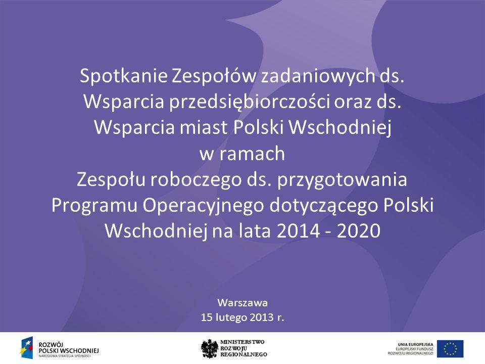 Spotkanie Zespołów zadaniowych ds. Wsparcia przedsiębiorczości oraz ds. Wsparcia miast Polski Wschodniej w ramach Zespołu roboczego ds. przygotowania