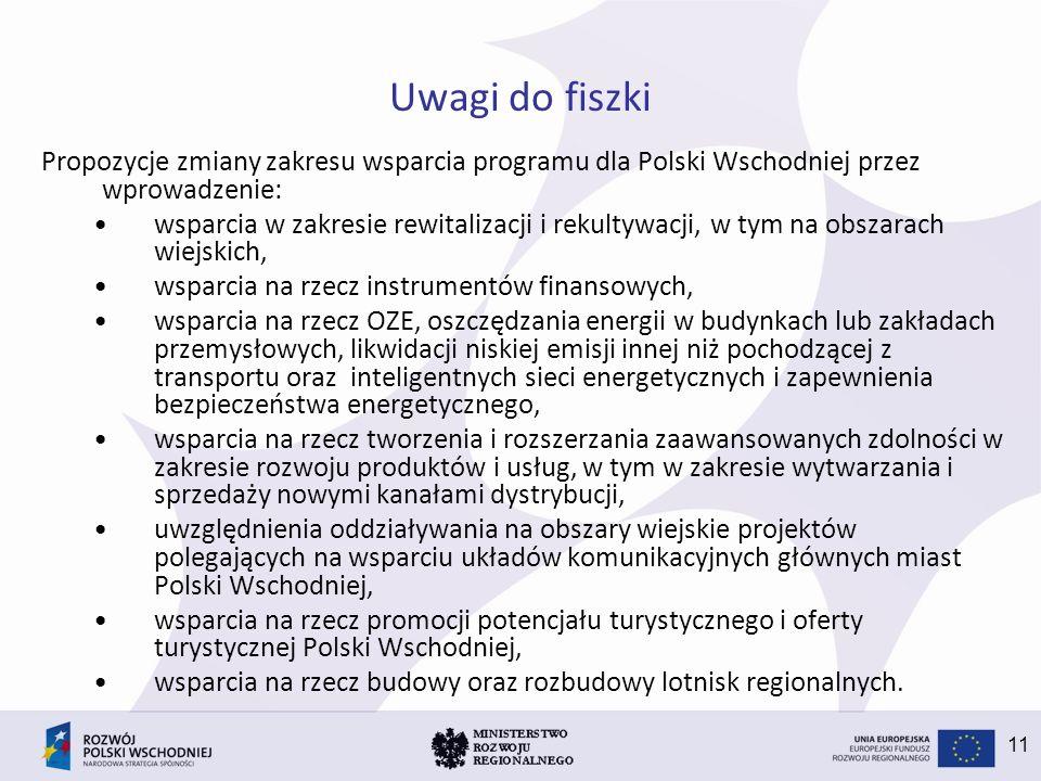11 Uwagi do fiszki Propozycje zmiany zakresu wsparcia programu dla Polski Wschodniej przez wprowadzenie: wsparcia w zakresie rewitalizacji i rekultywacji, w tym na obszarach wiejskich, wsparcia na rzecz instrumentów finansowych, wsparcia na rzecz OZE, oszczędzania energii w budynkach lub zakładach przemysłowych, likwidacji niskiej emisji innej niż pochodzącej z transportu oraz inteligentnych sieci energetycznych i zapewnienia bezpieczeństwa energetycznego, wsparcia na rzecz tworzenia i rozszerzania zaawansowanych zdolności w zakresie rozwoju produktów i usług, w tym w zakresie wytwarzania i sprzedaży nowymi kanałami dystrybucji, uwzględnienia oddziaływania na obszary wiejskie projektów polegających na wsparciu układów komunikacyjnych głównych miast Polski Wschodniej, wsparcia na rzecz promocji potencjału turystycznego i oferty turystycznej Polski Wschodniej, wsparcia na rzecz budowy oraz rozbudowy lotnisk regionalnych.