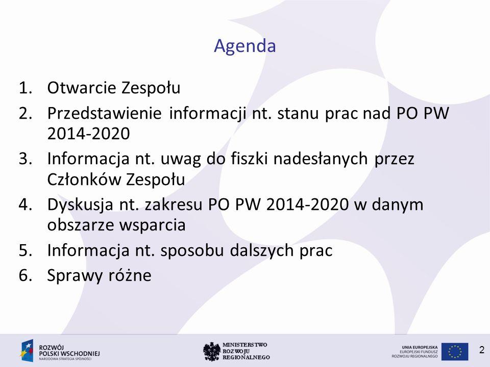 2 Agenda 1.Otwarcie Zespołu 2.Przedstawienie informacji nt. stanu prac nad PO PW 2014-2020 3.Informacja nt. uwag do fiszki nadesłanych przez Członków