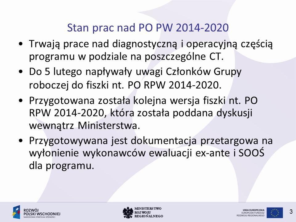 3 Stan prac nad PO PW 2014-2020 Trwają prace nad diagnostyczną i operacyjną częścią programu w podziale na poszczególne CT. Do 5 lutego napływały uwag