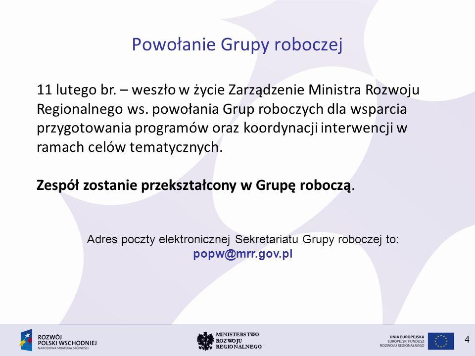 4 Powołanie Grupy roboczej 11 lutego br. – weszło w życie Zarządzenie Ministra Rozwoju Regionalnego ws. powołania Grup roboczych dla wsparcia przygoto