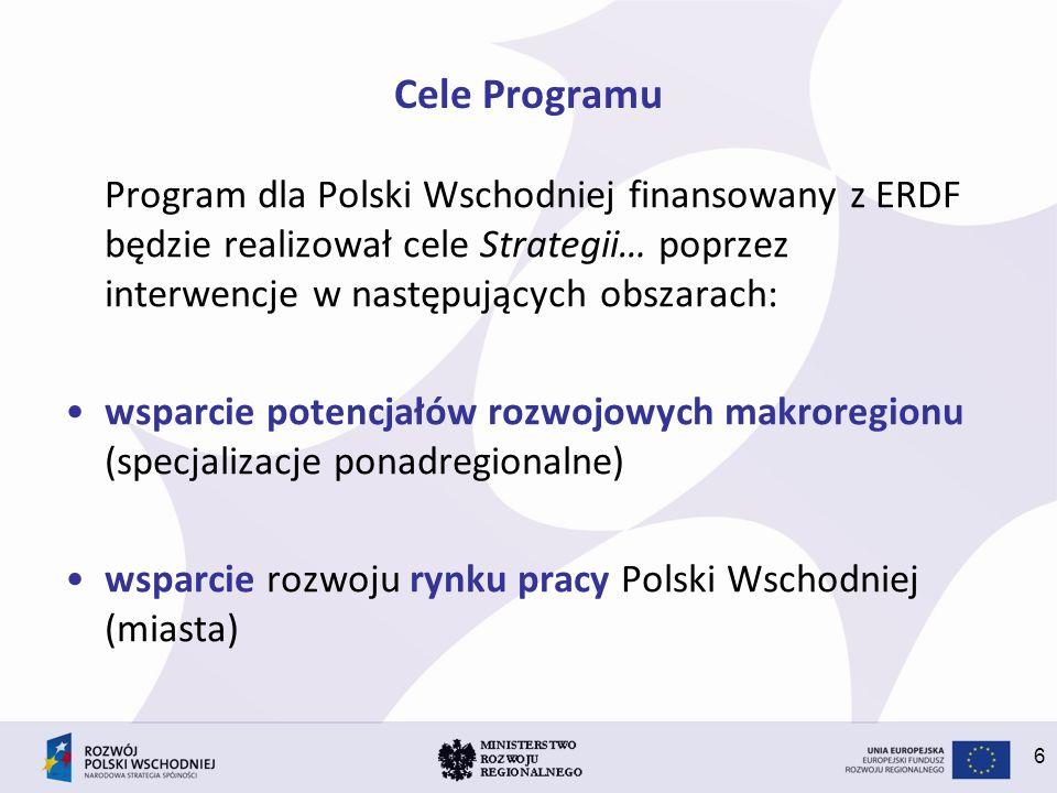 6 Cele Programu Program dla Polski Wschodniej finansowany z ERDF będzie realizował cele Strategii… poprzez interwencje w następujących obszarach: wspa