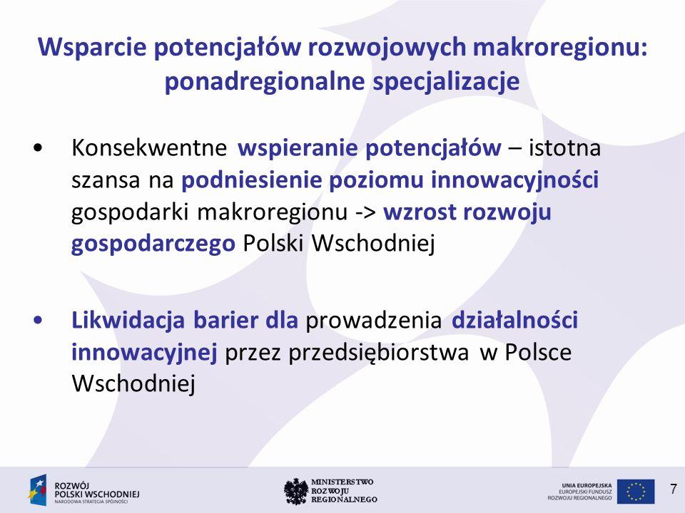 7 Wsparcie potencjałów rozwojowych makroregionu: ponadregionalne specjalizacje Konsekwentne wspieranie potencjałów – istotna szansa na podniesienie po