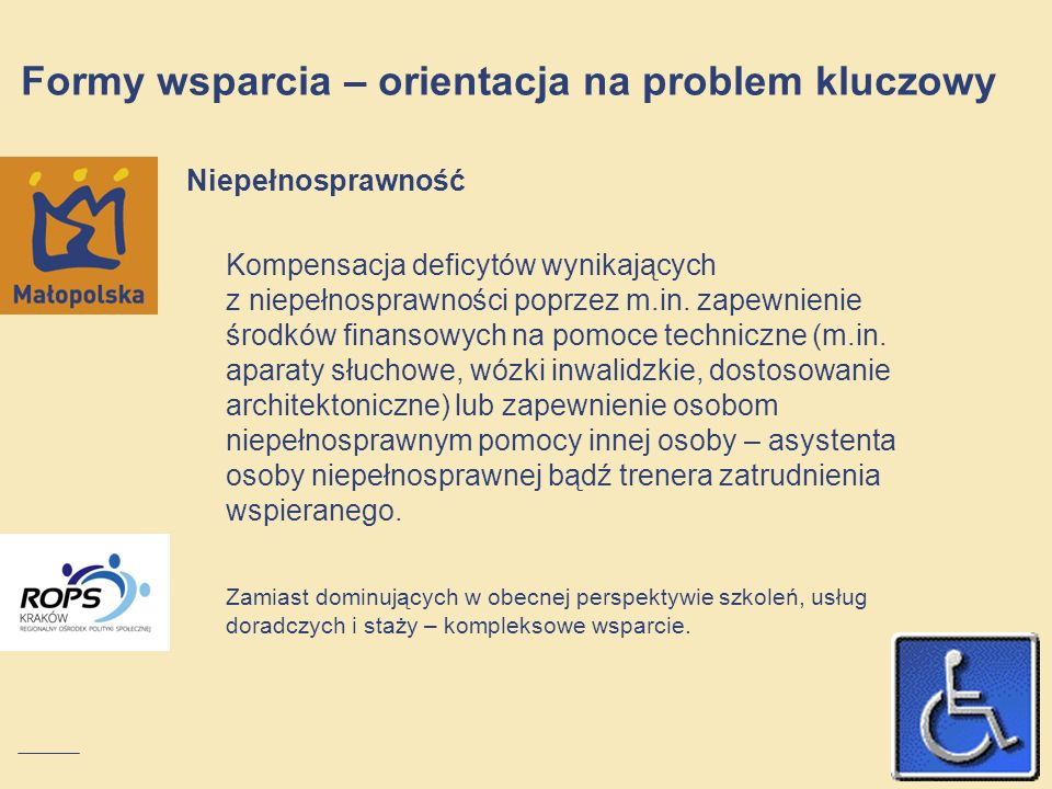 Niepełnosprawność Kompensacja deficytów wynikających z niepełnosprawności poprzez m.in. zapewnienie środków finansowych na pomoce techniczne (m.in. ap