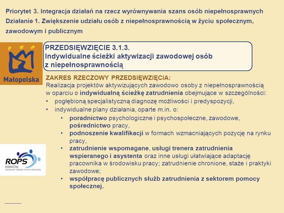 PRZEDSIĘWZIĘCIE 3.1.3. Indywidualne ścieżki aktywizacji zawodowej osób z niepełnosprawnością ZAKRES RZECZOWY PRZEDSIĘWZIĘCIA: Realizacja projektów akt