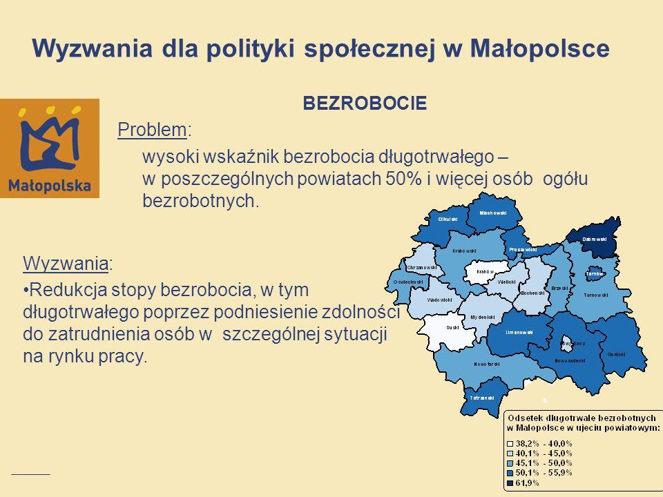 NIEPEŁNOSPRAWNOŚĆ Problem: skala niepełnosprawności w Małopolsce – ponad 0,5 mln osób ma status osób niepełnosprawnych (około 16% populacji) skala bierności zawodowej osób niepełnosprawnych - 182 tysiące osób biernych zawodowo z powodu choroby lub niepełnosprawności (2011) Wyzwania dla polityki społecznej w Małopolsce Wyzwania: podniesienie dostępu do rynku pracy, podniesienie dostępu do usług publicznych.