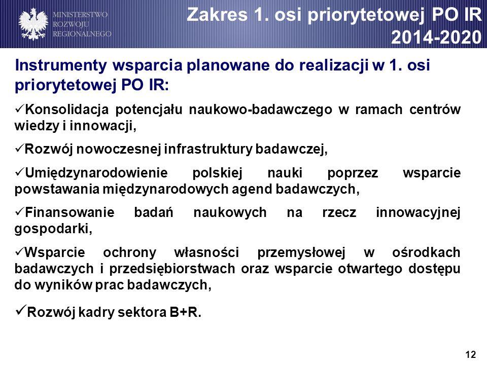 12 Instrumenty wsparcia planowane do realizacji w 1. osi priorytetowej PO IR: Konsolidacja potencjału naukowo-badawczego w ramach centrów wiedzy i inn