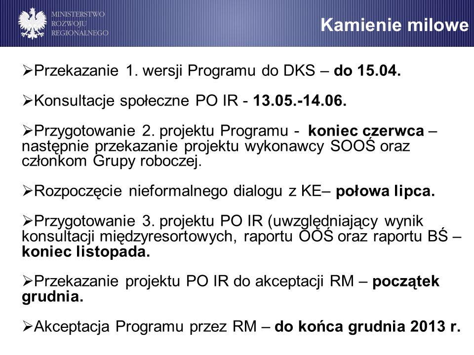 Kamienie milowe Przekazanie 1. wersji Programu do DKS – do 15.04. Konsultacje społeczne PO IR - 13.05.-14.06. Przygotowanie 2. projektu Programu - kon