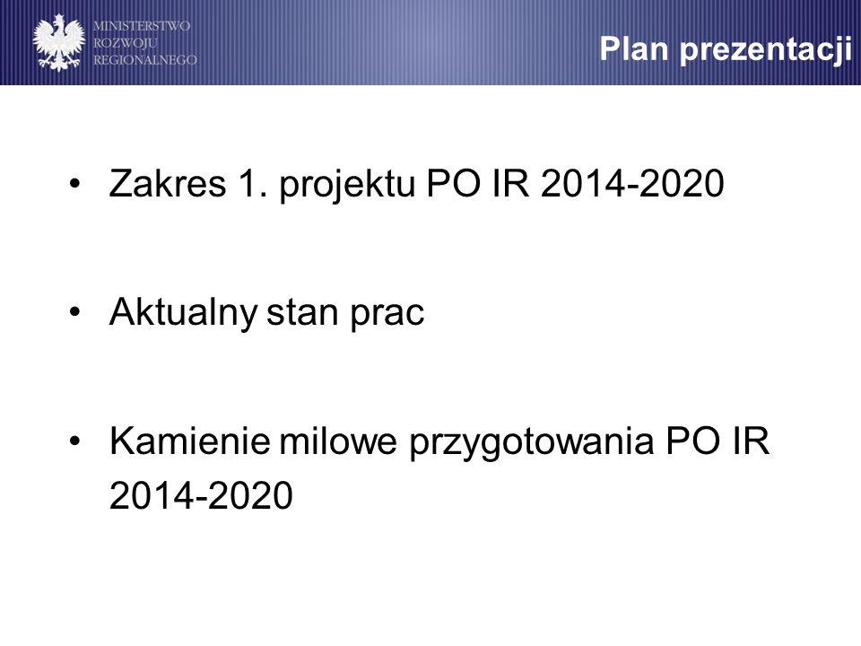Plan prezentacji Zakres 1. projektu PO IR 2014-2020 Aktualny stan prac Kamienie milowe przygotowania PO IR 2014-2020