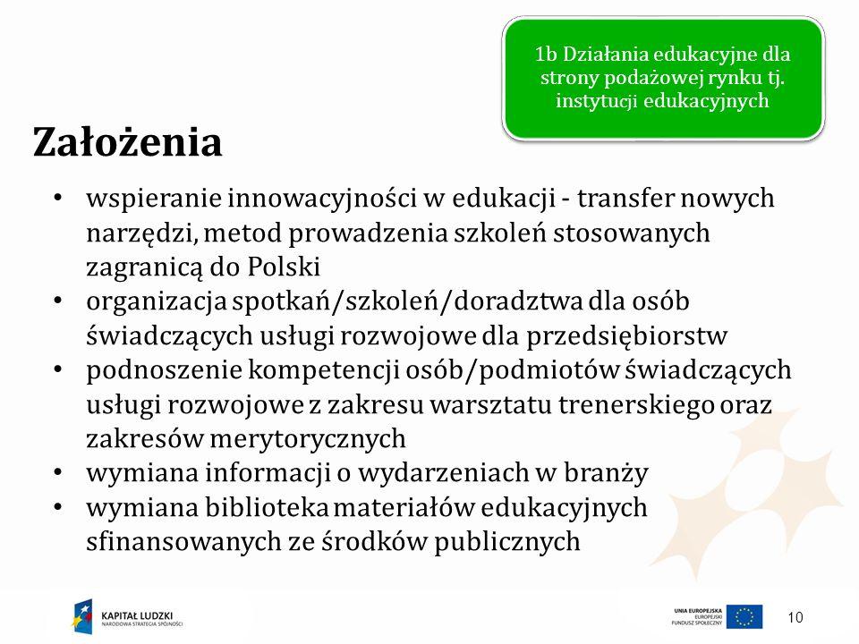 10 Założenia wspieranie innowacyjności w edukacji - transfer nowych narzędzi, metod prowadzenia szkoleń stosowanych zagranicą do Polski organizacja sp