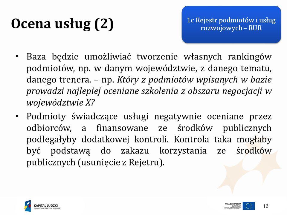 16 Ocena usług (2) Baza będzie umożliwiać tworzenie własnych rankingów podmiotów, np. w danym województwie, z danego tematu, danego trenera. – np. Któ
