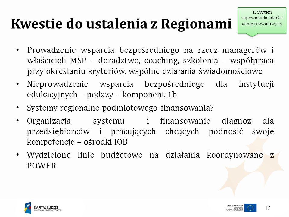17 Kwestie do ustalenia z Regionami Prowadzenie wsparcia bezpośredniego na rzecz managerów i właścicieli MSP – doradztwo, coaching, szkolenia – współp
