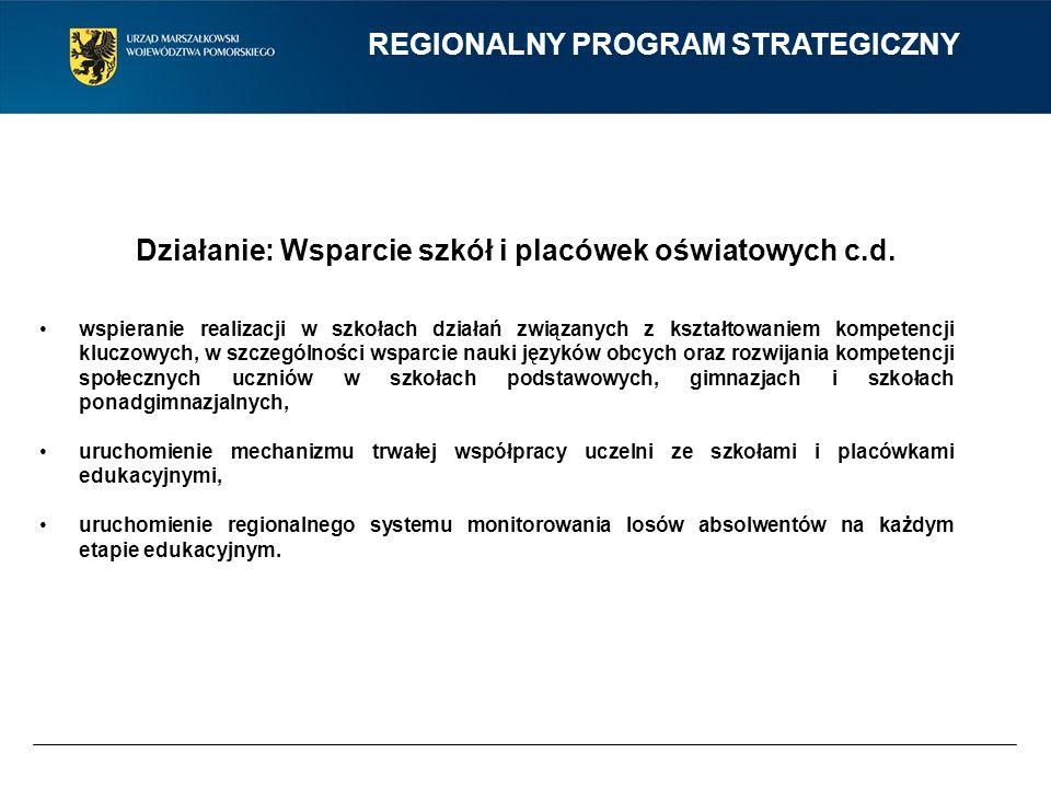 REGIONALNY PROGRAM STRATEGICZNY Działanie: Wsparcie szkół i placówek oświatowych c.d. wspieranie realizacji w szkołach działań związanych z kształtowa