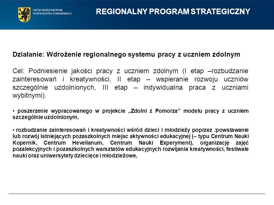 REGIONALNY PROGRAM STRATEGICZNY Działanie: Wdrożenie regionalnego systemu pracy z uczniem zdolnym Cel: Podniesienie jakości pracy z uczniem zdolnym (I