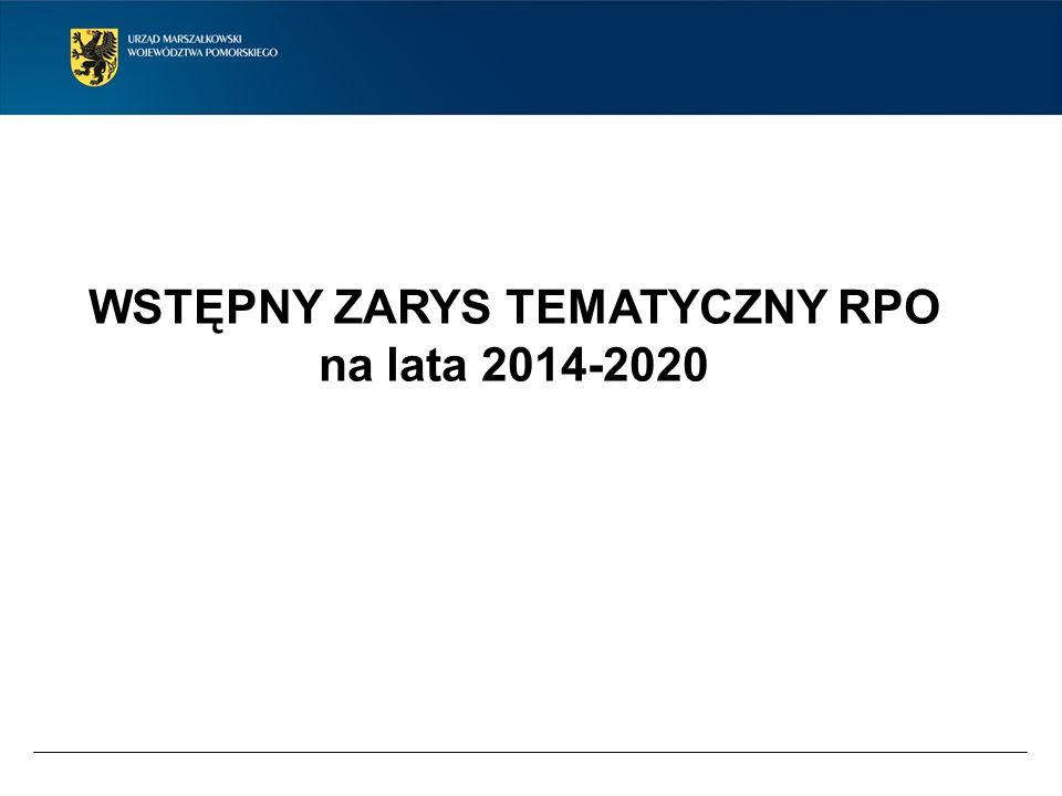 WSTĘPNY ZARYS TEMATYCZNY RPO na lata 2014-2020