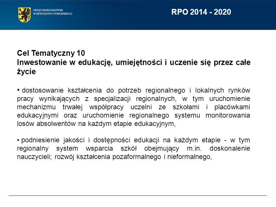 RPO 2014 - 2020 Cel Tematyczny 10 Inwestowanie w edukację, umiejętności i uczenie się przez całe życie dostosowanie kształcenia do potrzeb regionalneg