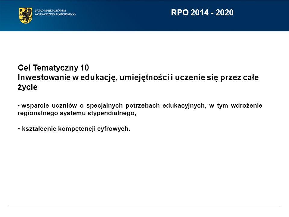 RPO 2014 - 2020 Cel Tematyczny 10 Inwestowanie w edukację, umiejętności i uczenie się przez całe życie wsparcie uczniów o specjalnych potrzebach eduka