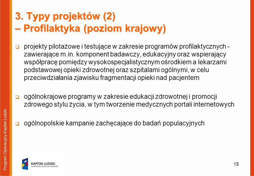 3. Typy projektów (2) – Profilaktyka (poziom krajowy) projekty pilotażowe i testujące w zakresie programów profilaktycznych - zawierające m.in. kompon