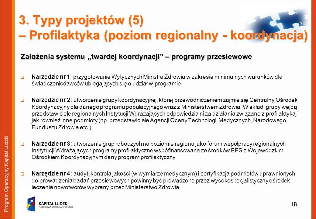 Założenia systemu twardej koordynacji – programy przesiewowe Narzędzie nr 1: przygotowanie Wytycznych Ministra Zdrowia w zakresie minimalnych warunków