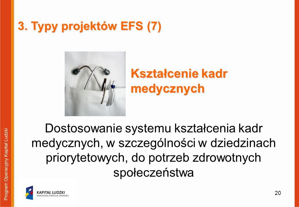 Dostosowanie systemu kształcenia kadr medycznych, w szczególności w dziedzinach priorytetowych, do potrzeb zdrowotnych społeczeństwa 20 3. Typy projek