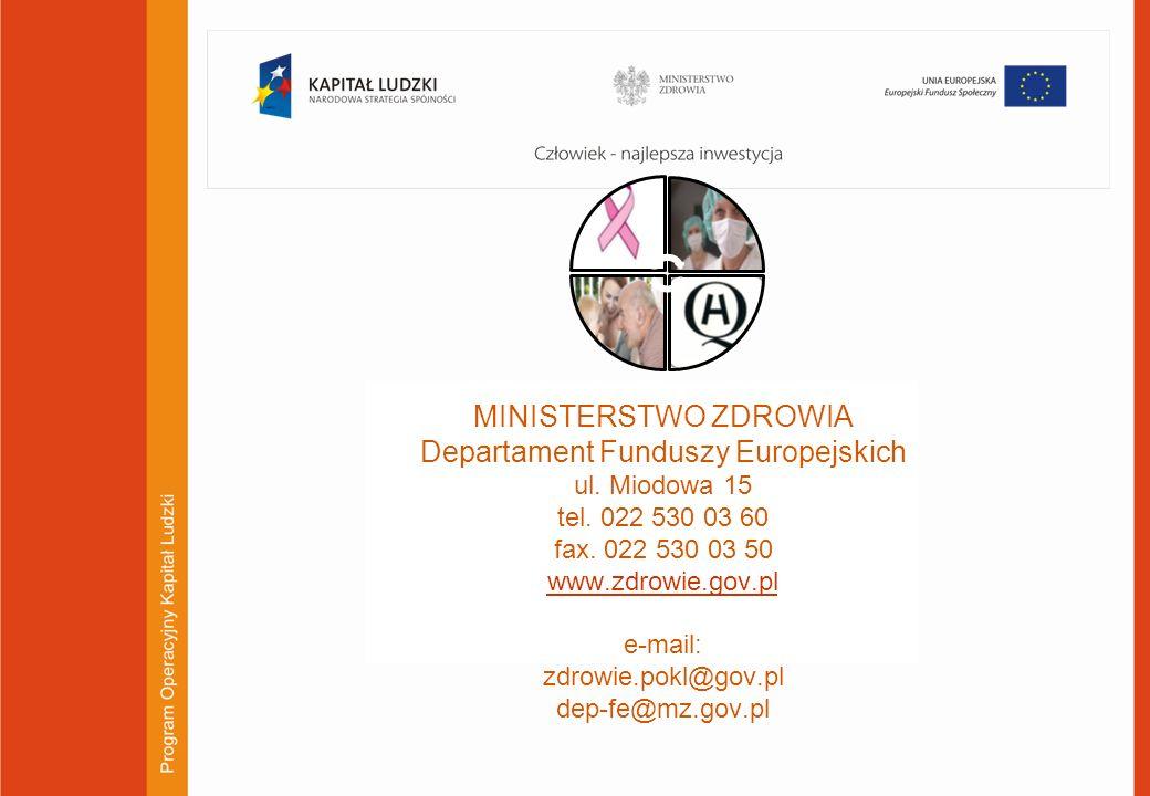 23 MINISTERSTWO ZDROWIA Departament Funduszy Europejskich ul. Miodowa 15 tel. 022 530 03 60 fax. 022 530 03 50 www.zdrowie.gov.pl e-mail: zdrowie.pokl