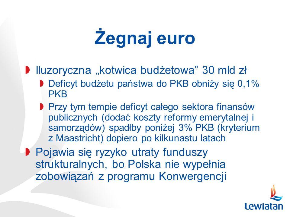 Żegnaj euro Iluzoryczna kotwica budżetowa 30 mld zł Deficyt budżetu państwa do PKB obniży się 0,1% PKB Przy tym tempie deficyt całego sektora finansów