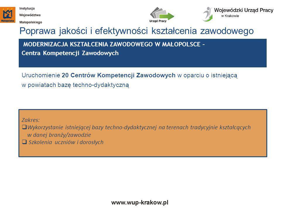 Poprawa jakości i efektywności kształcenia zawodowego Uruchomienie 20 Centrów Kompetencji Zawodowych w oparciu o istniejącą w powiatach bazę techno-dy